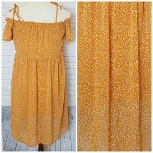 Boho Mustard Marigold Off The Shoulder Dress